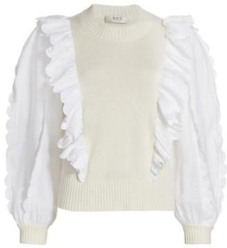 Sea Ruffle Combo Sweater