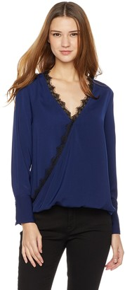 Plumberry Blouses For Women With Lace Decoration Blouses Small Navy