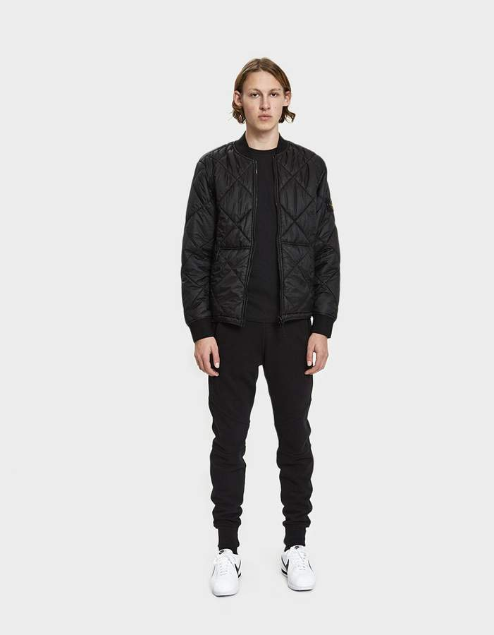 Stone Island Garment Dyed Quilted Micro Yarn Down Bomber Jacket in Black