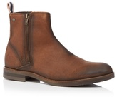 Jack & Jones Brown 'zippy' Waxed Leather Ankle Boots