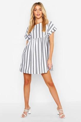 boohoo Linen Look Stripe Smock Dress