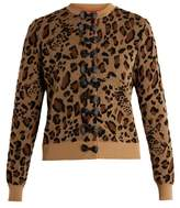 Muveil Bow-embellished leopard fil coupé cardigan