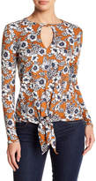 Loveappella Floral Tie Front Long Sleeve Tee