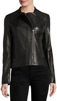 T Tahari Kirsten Leather Moto Jacket, Black