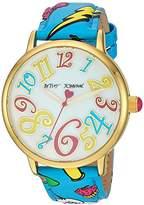 Betsey Johnson Women's Quartz Metal and Polyurethane Casual Watch, Color:Blue (Model: BJ00496-59)