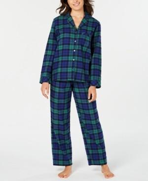 Matching Family Pajamas Women's Black Watch Plaid Flannel Pajama Set, Created for Macy's