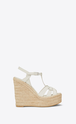 Saint Laurent Espadrille Tribute Espadrilles Wedge In Smooth Leather Gray Whithe 1