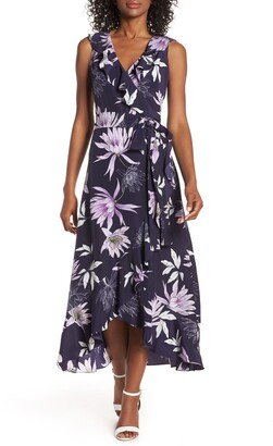 Vince Camuto Asymmetrical Faux Wrap Midi Dress