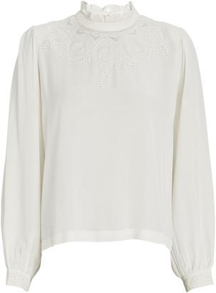LES COYOTES DE PARIS Justine Lace-Trimmed Silk Blouse