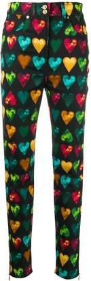 Versace heart print skinny jeans