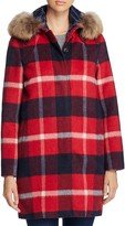 Woolrich Allgood Fur Trim Plaid Coat