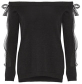 Valentino Off-the-shoulder Silk Chiffon-trimmed Cashmere Sweater - Black