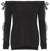 Valentino Off-the-shoulder Silk Chiffon-trimmed Cashmere Sweater - medium