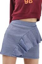 Topshop Women's Gingham Ruffle Miniskirt