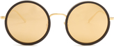 Linda Farrow Oversized gold-plated round-frame sunglasses