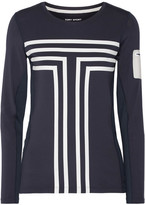 Tory Sport Performance Printed Stretch-jersey Top - Midnight blue