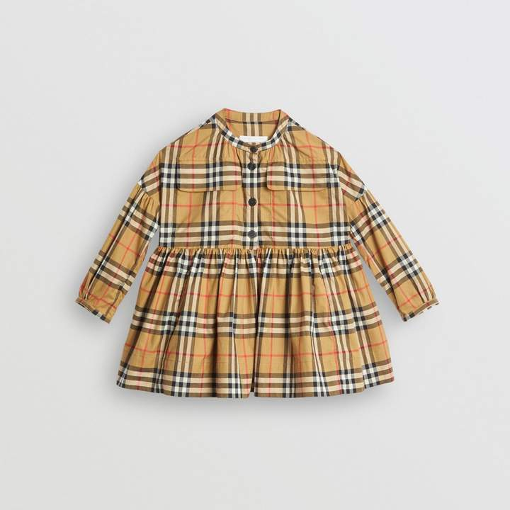 Burberry Gathered Sleeve Vintage Check Cotton Dress