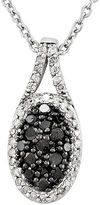 FINE JEWELRY 1/2 CT. T.W. White and Color-Enhanced Black Diamond Sterling Silver Oval Pendant Necklace