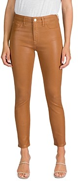 7 For All Mankind Jen7 by Coated Skinny Ankle Jeans in Amber