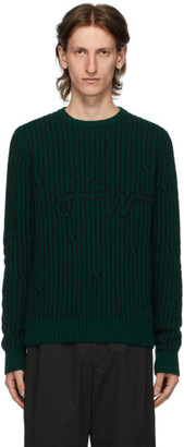 Off-White Green Intarsia Knit Sweater