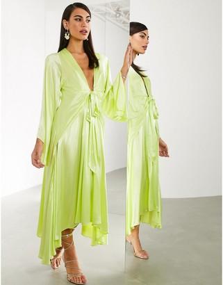 ASOS EDITION extreme kimono sleeve tie front midi dress