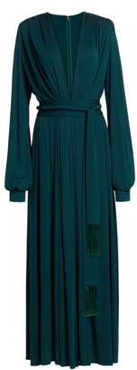 Oscar de la Renta Deep V-Neck Long-Sleeve Gown