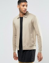 Asos Jersey Harrington Jacket In Beige