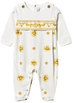 Young Versace White and Gold Majolica Print Babygrow