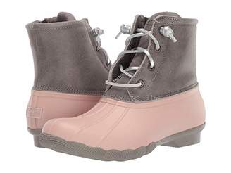 Sperry Saltwater Leather Metallic Lace (Grey/Rose Dust) Women's Rain Boots