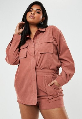 Missguided Plus Size Rust Co Ord Twill Utility Pocket Shorts