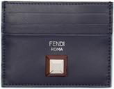 Fendi Navy & Tan Single Stud Card Holder