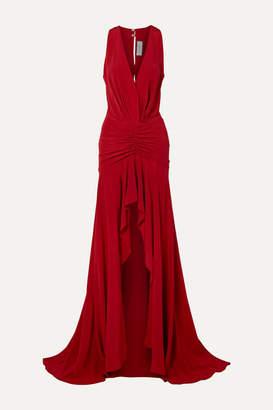 Silvia Tcherassi Dakota Ruched Silk Crepe De Chine Maxi Dress - Red