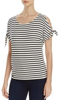 Calvin Klein Stripe Cold Shoulder Top