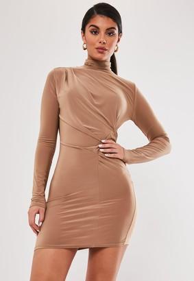 Missguided Camel Slinky High Neck Drape Mini Dress