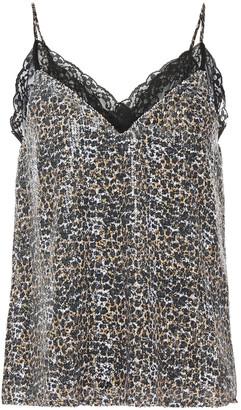 Olivia Rubin Flora Lace-trimmed Sequined Leopard-print Georgette Camisole