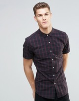 Asos Skinny Shirt In Burgundy Grid Check With Short Sleeves