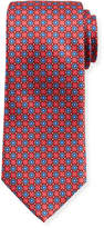 Canali Connected-Medallions Silk Tie, Red