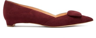 Rupert Sanderson Aga Point-toe Suede Flats - Burgundy