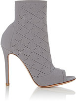 Gianvito Rossi Women's Perforated Knit Ankle Booties-GREY