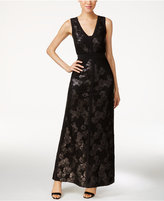 Calvin Klein V-Neck Sequined Lace Gown