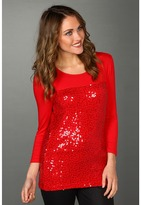 Calvin Klein - 3/4 Sleeve Top w/ Sequin (Rouge) - Apparel