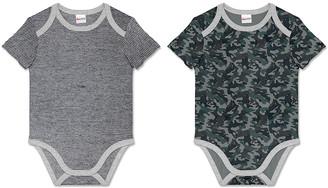 PeppyMini Boys' Infant Bodysuits - Gray Camo & Black & White Stripe Bodysuit Set