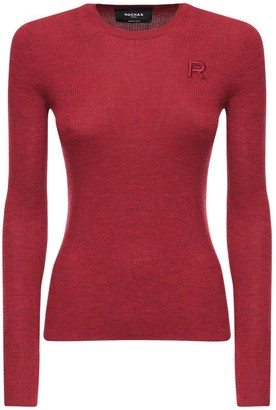 Rochas Logo Embroidery Ribbed Knit Wool Top
