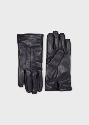 Giorgio Armani Lambskin Nappa Leather Gloves Cashmere Lining Made In Italy