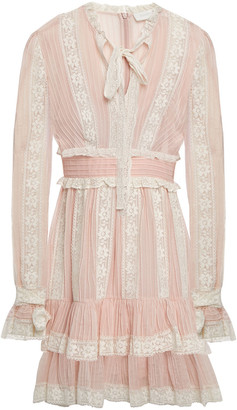 Zimmermann Lace-trimmed Cotton And Silk-blend Voile Mini Dress