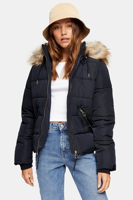 Topshop Navy Padded Puffer Jacket With Faux Fur Trim