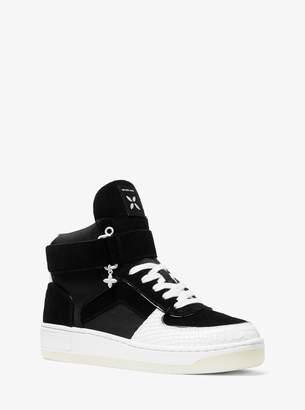 MICHAEL Michael Kors Jaden Suede and Snake-Embossed High-Top Sneaker