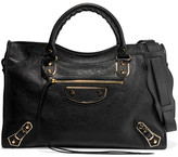 Balenciaga City Glossed Textured-leather Tote - Black