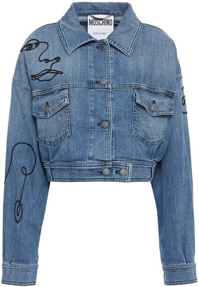 Moschino Cropped Embroidered Denim Jacket