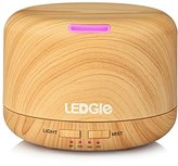Ledgle Essential Oil Diffuser 400ml Wood Grain Ultrasonic Aroma Diffuser Mist Air Humidifier with 7 Color Changing LED Lights/ Auto Shut Off/ 4 Timer Setting